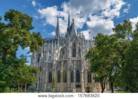 The Votive Church is a neo-Gothic church located on the Ringstrasse in Vienna Austria. Voew from apse