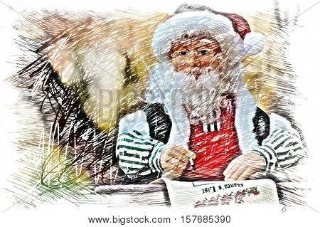a picture story showing awaiting Santa Claus. an image for Christmas