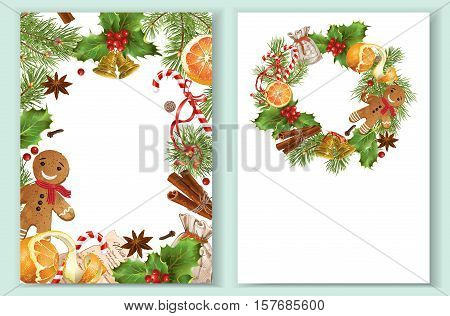 Vector Christmas vertical banners with traditional decoration, Christmas tree branches and sweets. Design for Christmas sale, greeting card, Christmas party invitation, flyer. A 4 format on white