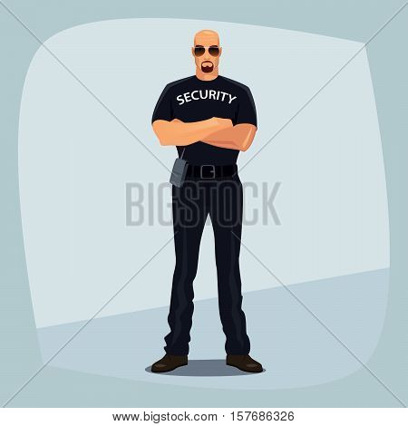 Security Guard Crossed Arms On His Chest