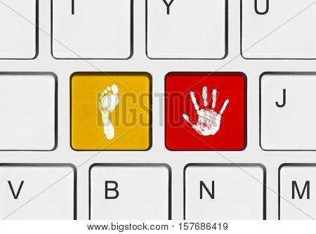 Computer keyboard with printout of hand and foot keys - 3D illustration