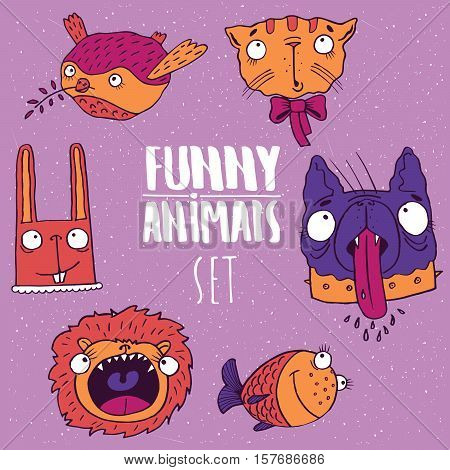 Set Of Animal Emblems In Handmade Cartoon Style