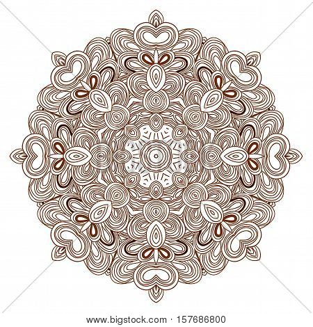 Brown uncolored hand drawn pattern. Mandala pattern. Can be used as anti-stress coloring tracery.
