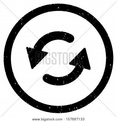 Refresh CCW rubber seal stamp watermark. Icon vector symbol with grunge design and dust texture. Scratched black ink sign on a white background.