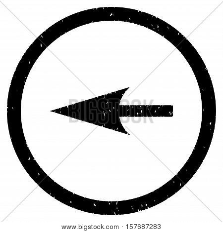 Sharp Left Arrow rubber seal stamp watermark. Icon vector symbol with grunge design and unclean texture. Scratched black ink sign on a white background.