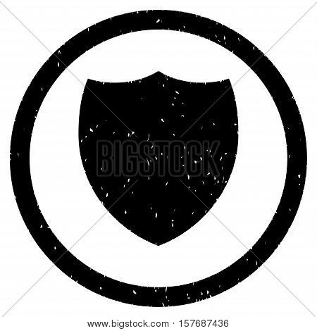 Shield rubber seal stamp watermark. Icon vector symbol with grunge design and dust texture. Scratched black ink sticker on a white background.