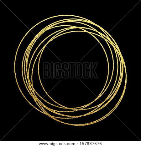 Rings of golden glitter. Gold sparkling abstract circles with golden foil gilding texture. Festive vector background for Christmas and New Year premium design