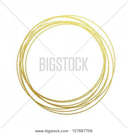 golden circles and rings. Decoration design element of gold foil gilding texture. Festive background for New Year and Christmas cards ornaments. Sparkling twirl design elements for interior decoration