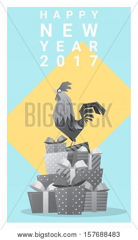 Happy new year 2017 card with rooster , animal new year of 2017 , vector, illustration
