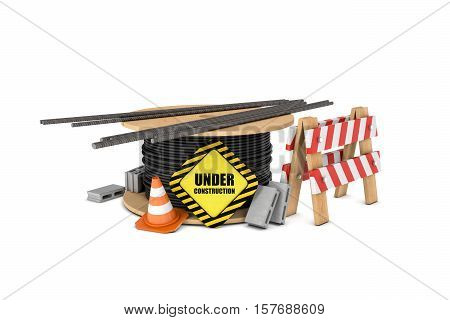 3d rendering of cable drum with under construction sign, pile of metal bars, wooden barrier, traffic cones and concrete blocks isolated on white background. Safety gear and equipment. Construction site. Barriers and warning signs.