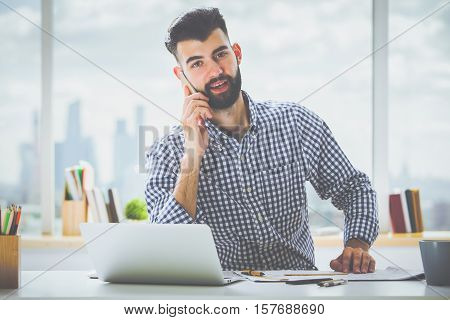 Attractive Male On Phone