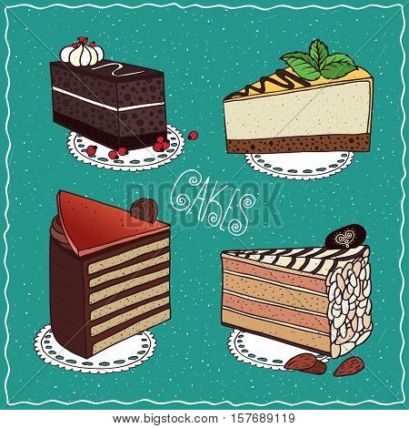 Set Of Different Cakes In Handmade Cartoon Style