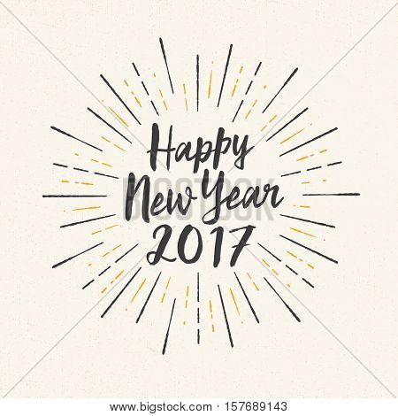 Handmade greeting card - Happy New Year 2017 - Vector EPS10.