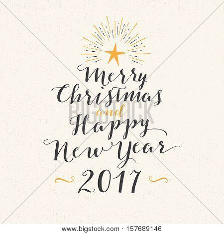 Handmade greeting card - Merry Christmas and Happy New Year 2017 - Vector EPS10.