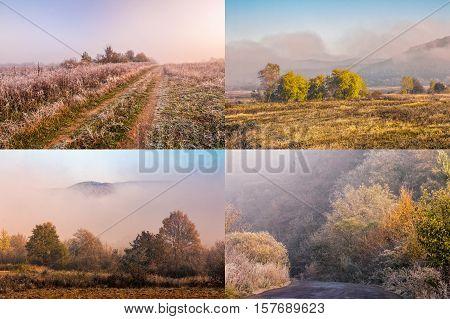 Fog On Hot Magenta Sunrise In Mountains Image Set