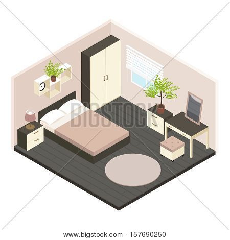 3d Isometric bedroom interior with newly renovated in volumetric style and minimalist style vector illustration