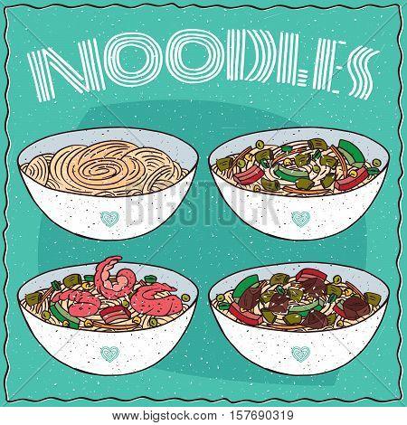 Set Of Four Asian Noodle Soups