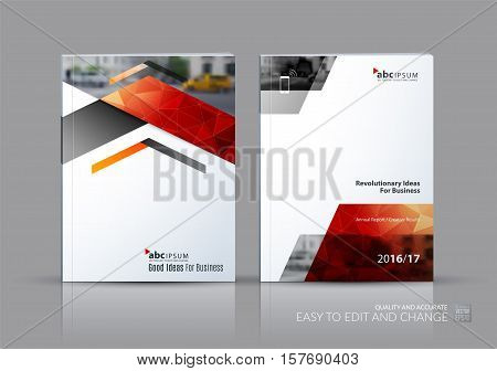 Business vector set. Brochure template layout, cover design annual report, flyer in A4 with red triangles, arrows for business, finance, buildings, nature concept. Abstract creative design.
