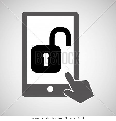 data protection smartphone padlock open icon vector illustration eps 10