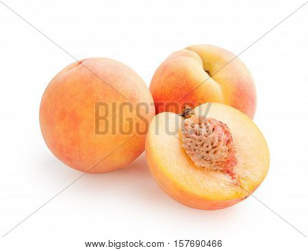 Peaches. Fresh peaches isolated on white background. Peach in a cut
