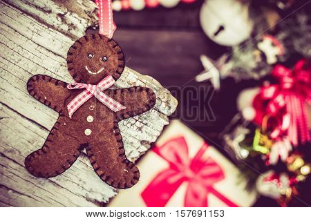 Christmas idea on wooden background copy space