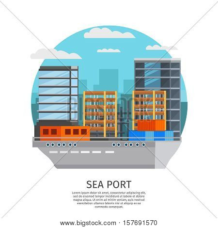 Sea port round design with barge and storage facilities on city buildings background orthogonal vector illustration