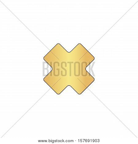 rejected Gold vector icon with black contour line. Flat computer symbol