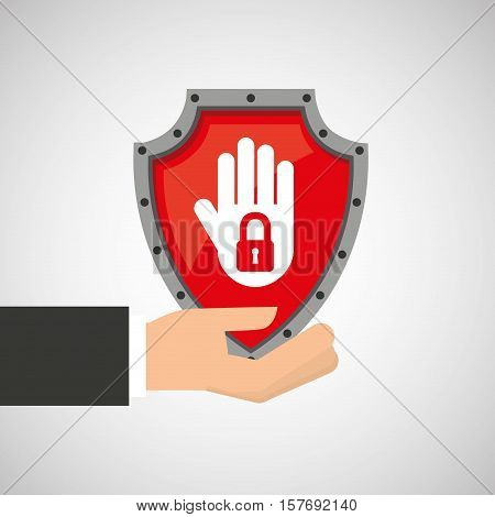 hand holding no access data protection vector illustration eps 10