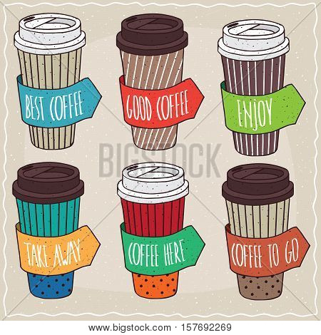 Set Of Six Different Trendy Paper Cup Of Coffee