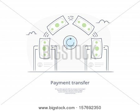 Premium Quality Hand drawn Line Icon And Concept Set: People sending and receiving money, mobile payments using smartphone.