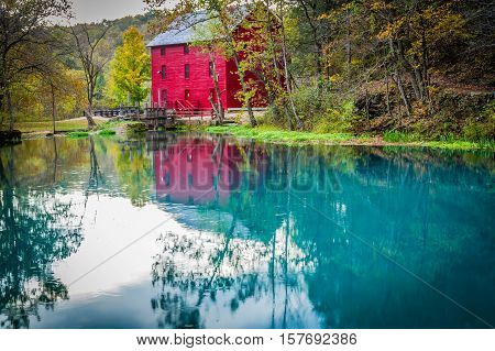Alley Mill reflection in Fall South Missouri