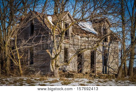 Old Abandoned Wooden Homestead Building Lays Empty