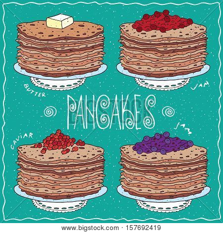 Set Of Thin Pancakes In Handmade Cartoon Style