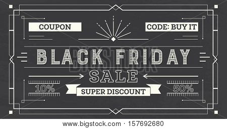 Black Friday Sale Retro Background. Coupon Template with Rays, Lines and Frame.