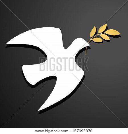 Dove silhouette White dove, golden olive branch. Black background. Logo template. Vector illustration.