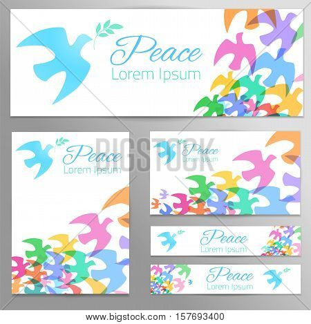 Colorful doves silhouettes Blue dove, green olive branch. White background. Symbol of peace. Logo, poster, banners template. Vector illustration.