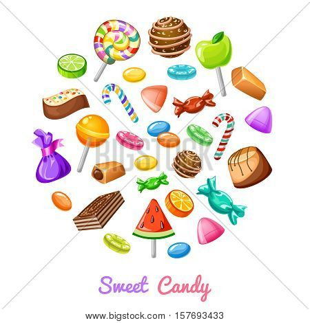 Sweet candy composition with colored flat isolated icon set combined in big round and headline sweet candy vector illustration
