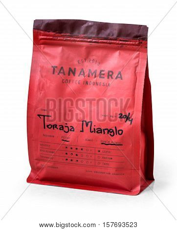 Warsaw Poland - November 04 2016: coffee package Tanamera on white background Jakarta Indonesia serving Best Specialty Coffee Specialty Coffee in Jakarta