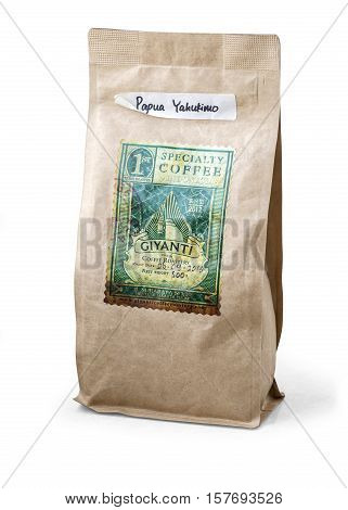 Warsaw Poland - November 04 2016: coffee package Giyanti on white background Jakarta Indonesia serving Best Specialty Coffee Specialty Coffee in Jakarta Specialty Coffee in Indonesia Wholesale Roasted Beans