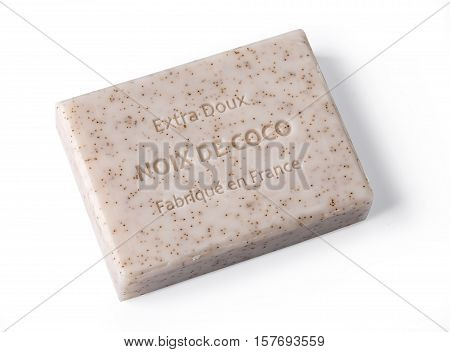Chisinau Moldova -November 10 2016: Extra doux noix de coco soap bar over white background