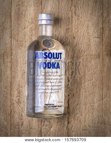 Chisinau Moldova November 17 2016:Absolut Vodka is a brand of vodka produced near Ahus in Sweden. Owned by French group Pernod Ricard it is one of the largest brand of alcoholic spirits in the world.