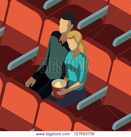Loving couple with popcorn sitting at red chairs in audience hall of cinema isometric template vector illustration