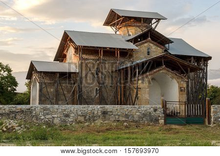 Summer evening in the village of Lykhny Abkhazia. Ancient Temple of the Dormition of the Theotokos