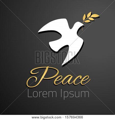 Dove silhouette. White dove, golden olive branch. Black background. Symbol of peace. Logo template. Vector illustration.