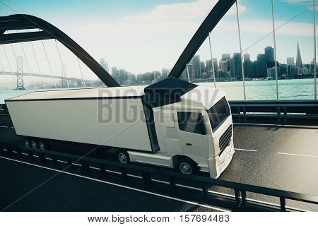 Huge white truck on road. City background. 3D Rendering. Cargo and freight concept