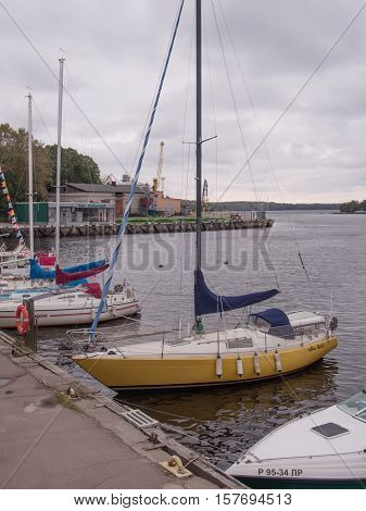 Vyborg Russia September 25 2016: moored at the pier of the yacht club yacht