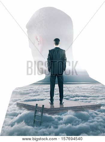 Back view of young man on pedestal with ladder on dull sky background with head silhouette. Research concept. Double exposure