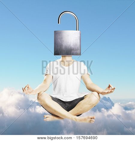 Meditating man with open iron lock instead of head on sky background. Unlocking mind to find new solutions