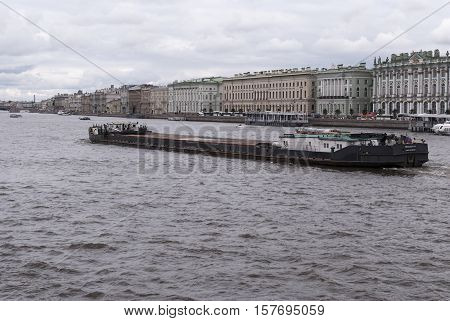 Saint Petersburg Russia September 06 2016: floating barge on the river Neva