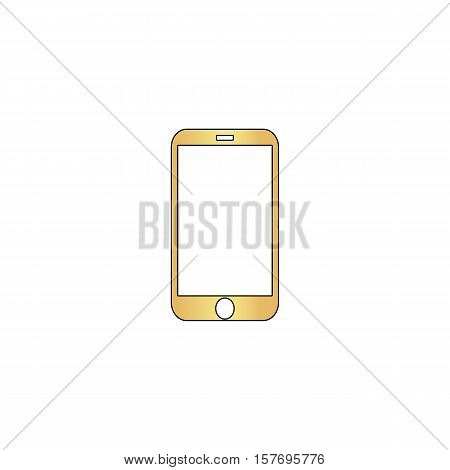 mini tablet Gold vector icon with black contour line. Flat computer symbol